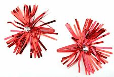 Zest 2 Christmas Tinsel Rosettes with Bells Hair Sleepies Slides Red