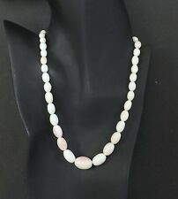 Vtg Victorian Angel Skin Pink Conch Shell Graduated Bead Cameo Necklace Antique