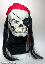 Mask Skull Pirate Jolly Roger Latex Mask With Hair & Bandanna Halloween Mask