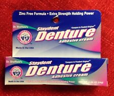 DR SHEFFIELD'S Staydent DENTURE Adhesive Cream Zinc Free Formula Dental Glue