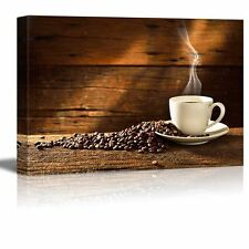 Canvas Prints Wall Art - Coffee Cup and Coffee Beans on Old Wooden Table - 12x18