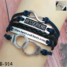 Fashion Women Men Leather Friendship Cuff Wrap Bangle Charm Infinity Bracelet