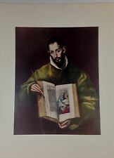 "1952 Vintage Full Color Art Plate ""ST. LUKE"" by EL GRECO Lithograph LOVELY Litho"