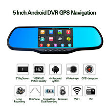 "5"" HD 1080P Car Rearview Mirror+GPS FM WiFi Transmitter Android 4.4, 8G Flash"
