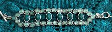 Lucky Brand Silver with Teal & Aqua Stones Link Bracelet New Tags MSRP $49