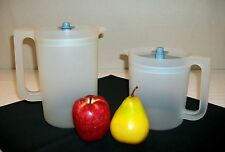 Tupperware SHEER push button pitchers ~2 Qt ~6 cup Go Between ~Country BLUE