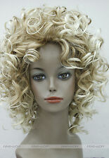 Hivision Blonde Mixed Short Curly Women ladies Daily Fluffy Full Wig FTLD098