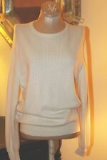 VINTAGE PURE IVORY CASHMERE SWEATER /  HAWCIO  SCOTLAND FOR JENNERS / M/L