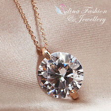 18K Rose Gold Plated Simulated Diamond Single Large 8.0 ct Round Cut Necklace
