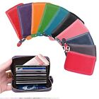 Mens Womens Genuine Real Leather Credit ID Business Card Holder Pocket Wallet