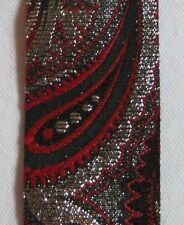 PRINCESS RIBBON-Imperial Tapestry-Paisley-Red/Silver/Black-Vintage-#9-5 yards