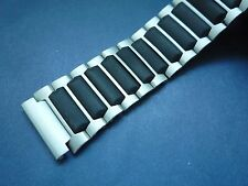 STAINLESS STEEL MEN'S WATCH BRACELET CERAMICS LINK 18MM BLACK/SILVER --- 88