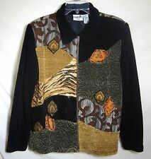 CHICOS Tapestry Jacket Zip Front Lined FUNKY BOHO Coat Chenille Chico's 2 Large