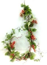 Berry~Greenery Wired Garland. 6 ft. Long. Green, Pink Tone, Cream. Artificial