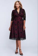 NEW KIYONNA ORCHID PINK BLACK LACE MADEMOISELLE DRESS PLUS SIZE 3X LANE BRYANT