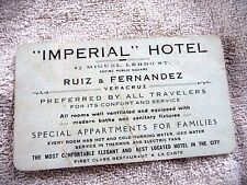 ANTIQUE BUSINESS CARD FOR IMPERIAL HOTEL AT VERACRUZ