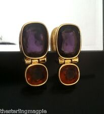 Vintage Scaasi Couture Purple Rhinestone Cabochon Drop Dangle Earrings Clip On