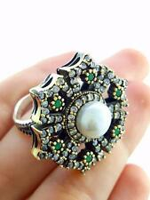 STERLING 925 SILVER SIZE ADJUSTABLE PEARL RING TURKISH HANDMADE JEWELRY R1852