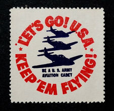 1940's WW2 / Let's Go USA! Vintage US ARMY AIR CORPS AVIATION CADET Letter Stamp