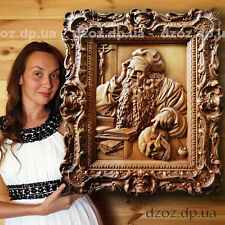 "26""Carved wood 3D icon St. Jerome religio painting Orthodox Catholic Bible"