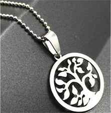 Fashion Tree of life Silver 316L Stainless Steel Titanium Pendant Necklace NEW