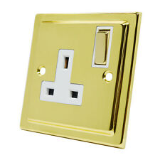 Victorian Polished Brass 1 Gang Socket - 13A Single Double Plug Outlet (White)