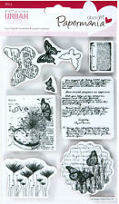 Papermania urban rubber stamp set of 9 Botanical print Butterflies Text Love