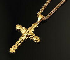 Mens Hip Hop Jesus Crucifix Cross Pendant Men 18K Gold Long Chain Necklace