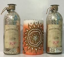 Set of 3-Mercury glass Bottle Vintage Shabby Chic style With Scented Candle