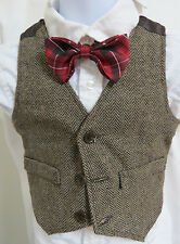 NEW 18 Month Brown Herringbone Striped BOYS Wool Blend #660 Suit Vest Waistcoat