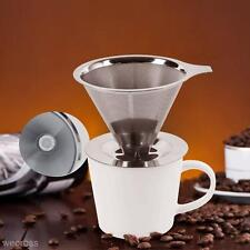 Reusable Stainless Steel Pour Over Drip Mesh Coffee Tea Cone Filter Holder Maker