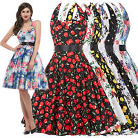Elegant Womens 50s Vintage Swing Pinup Evening Party Skater Cocktail TEA Dress