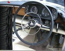 FOR TRIUMPH 1800 ROADSTER 46-49 REAL BLACK ITALIAN LEATHER STEERING WHEEL COVER