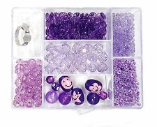 700+ Purple 7 different Variety Beads Smiley Face kit bead box New