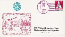 NAVAL MILITARY SHIP EVENT COVER - 1990 USS WILLIAM H STANDLEY CG-32 MERRY CHRIST