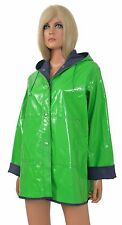 Vintage 80s Shiny Wet Look Vinyl RAINCOAT Glossy Green Patent New Wave Retro Hip