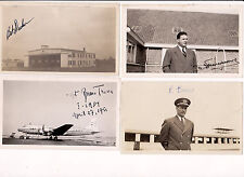 4 - B&W PHOTOGRAPHS SIGNED AUTOGRAPHED BY PILOTS AVIATION PHOTOS 1940'S/50'S