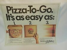 "Pizza Hut Placemat ""Pizza-To-Go"" Go Getters. Vintage 1987"