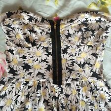Topshop Daisy Zip Up Dress Boob Tube Sweetheart Floral 8 10 12