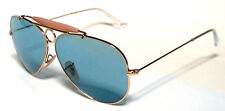 RAY BAN 3138 58 SHOOTER GOLD ORO LIGHT BLUE CELESTE LENSES PERSONALIZZATO REMIX