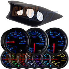 02-07 Subaru Impreza WRX STi Fiberglass Triple Dash Pod + 3 Black 7 Color Gauges