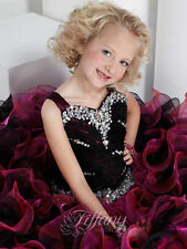 Black/Pink Straps Beaded Flower Girls Pageant Brithday Dress Kids Party BallGown