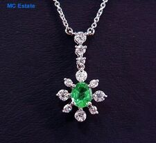 Specular Vintage Natural Columbian Emerald & Diamond Necklace 18k White Gold
