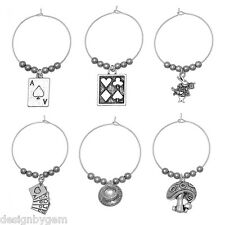 Alice in wonderland wine glass charms party table deco mad hatters tea party x 6