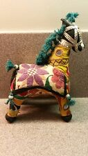 VINTAGE EMBROIDERED CLOTH FOLK ART HORSE MADE IN INDIA