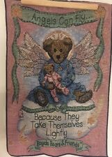 """Boyds Bears Woven Tapestry Wall Hanging  Angels Can Fly 17""""x 25"""""""