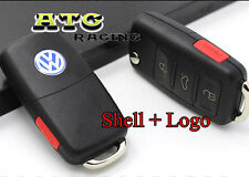 4 Buttons Flip Remote FOB Key Shell Case Uncut for VW Passat Jetta + VW Emblem