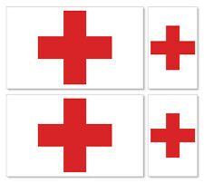 4 X INTERNATIONAL RED CROSS (CHRISTIAN) FLAGS- VINYL CAR IPAD LAPTOP STICKER