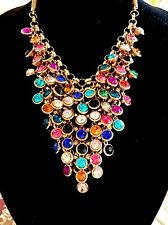 SENSATIONAL GOLD-TONE MULTICOLORED RHINESTONE BEZEL SET WATERFALL BIB NECKLACE