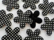 100! XL Gorgeous Black Padded Fabric & Felt Polka Dot Flowers - 47mm/1.9""